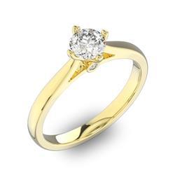 Помолвочное кольцо 1 бриллиантом 0,5 ct 4/5 и 2 бриллиантами 0,02 ct 4/5 из желтого золота 585°, артикул R-D41799-1