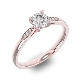 Помолвочное кольцо с 1 бриллиантом 0,45 ct 4/5  и 6 бриллиантами 0,03 ct 4/5 из розового золота 585°, артикул R-D34170-3