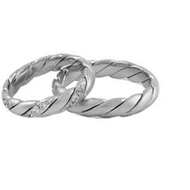 Обручальные кольца парные из белого золота с бриллиантами, артикул R-ТС 3397