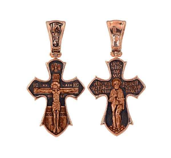 Православный крест Распятие христово. Святой Николай Чудотворец, артикул R-КС1-3061-3
