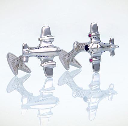 Запонки Самолет из серебра 925 пробы с гальваническим покрытием родием