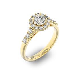 Помолвочное кольцо с 1 бриллиантом 0,45 ct 4/5  и 18 бриллиантами 0,45 ct 4/5 из желтого золота 585°, артикул R-D35967-1