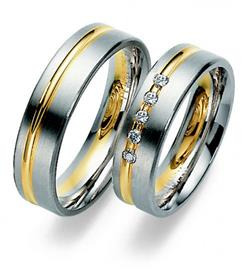 Обручальные кольца дизайнерские белое и желтое золото, артикул R-ТС 1565